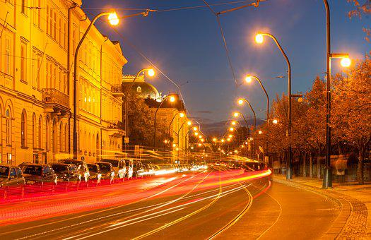 Prague, Czech Republic, Night, Lights, Road, Machinery