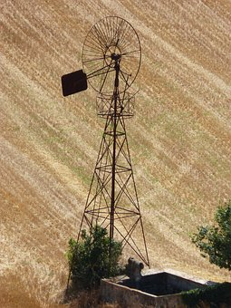 Mill, Cornfield, Field, Cereal, Rusty, Old, Abandoned