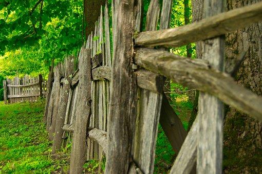 Wood Fence, North Carolina, Fence, Wood, Old, Nature