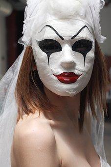 Mask, Paint, Horror, Woman, Art, White, Black, Human