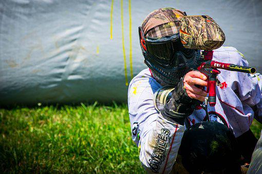Paintball, Shooting, Player, Gun, Marker, Mask, Hopper