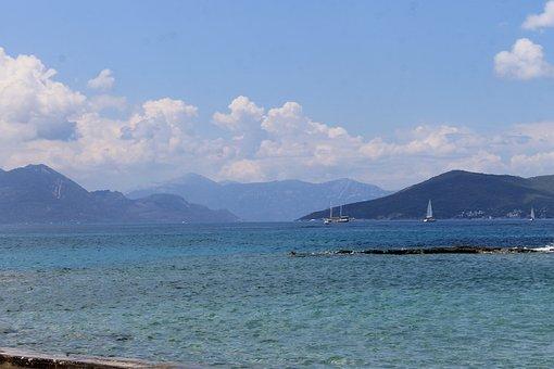Sea, Mountains, Island, Greece, Aegina, Landscape