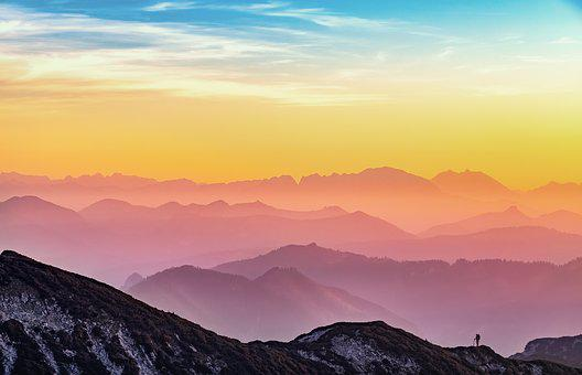 Mountains, Landscape, Silhouette, Sunset, Nature