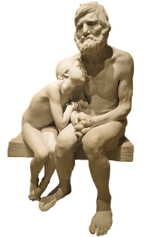 Father, Daughter, Concerns, Sitting, Statue, Figure