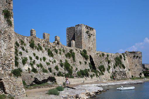 Methoni, Greece, Castle, Fortress, Stones, Coast