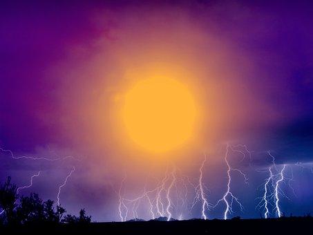 Landscape, Storm, Sunset, Sky, Clouds, Lightning