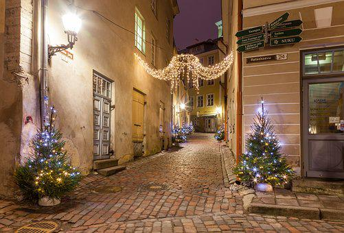 Tallinn, Streets, Lights, Christmas Tree, Christmas