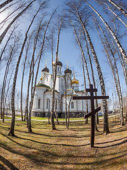 Temple, Church, Cross, Trees, Fisheye, Religion