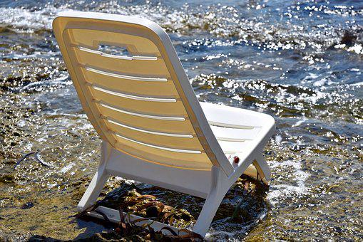 Chair, Plastic, Sea, Vacations, Recovery, Empty, Water