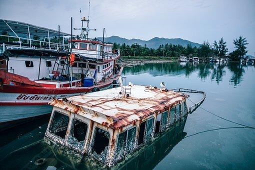 Harbor, Boat, Water, Ship, Sea, Old, Small, Wood, Wreck