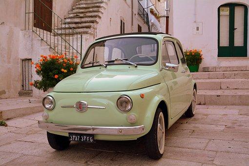 Vintage Car, Five Hundred, 500, Fiat, Alley, Flowers