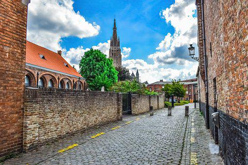Street, Architecture, Sky, Clouds, Brugge, Belgium