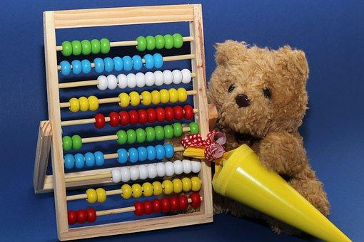 Back To School, Teddy, Schultüte, Yellow, Slide Rule