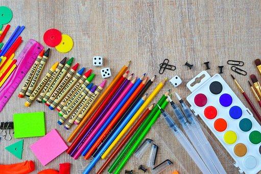 School, Back-to-school, Brush, Paint, Watercolor