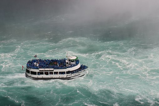 Niagara Falls, Maiden Of The Mist, Boat, River, People