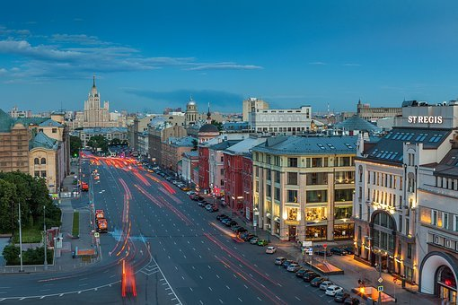 Moscow, Russia, City, Building, Architecture, Night