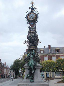 Clock Dewailly, Amiens, Mary Kit-shirt, Clock, Monument