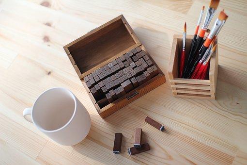 Desk, Seal, Pencil Arrangement, Cup, Initials