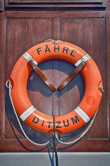 Lifebelt, Ferry, Ditzum, Ship, Water, Rescue