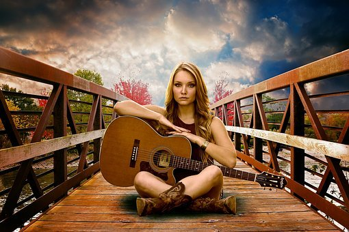 Guitar, Woman, Lady, Girl, Face, Female, Attractive