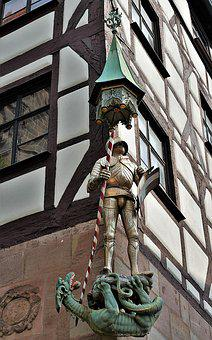 Statue, St, Georg, Sculpture, Dragon, Germany