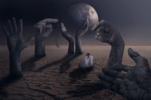 Moon, Girl Running, Runs, Stone Statues, Monuments
