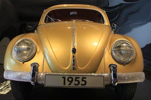 Vw Beetle, Gold, Year Built 1955, Small Car, Two Doors