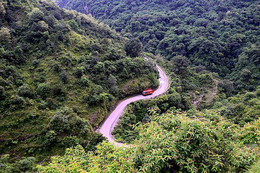 Hill, Road, Zigzag, Landscape, Nature, Grass, Sky