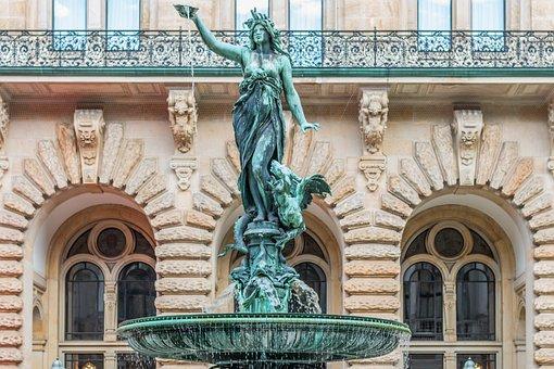 Hamburg, Town Hall, Fountain, Sculpture, Statue, Woman