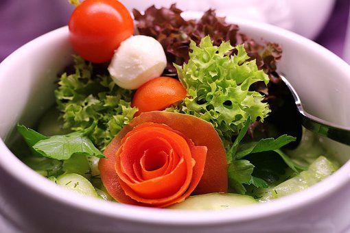 Salad, Tomato, Mozzarella, Bowl, Spoon, Green, Healthy