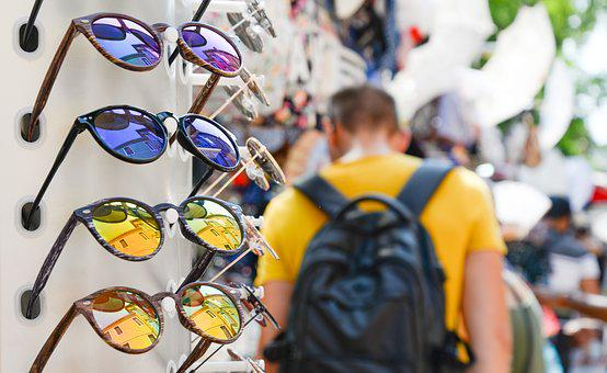Buying, Sunglasses, Shop, Backpack, Man, Fashion