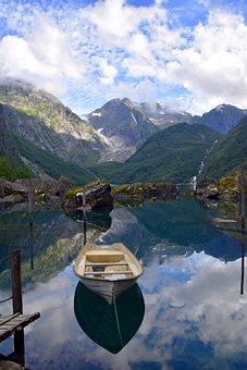 Mountains, Glacier, Boat, Mirroring, Landscape, Snow