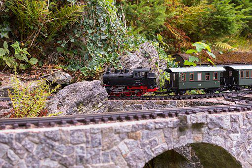 Train, Lockomotive, Wagon, Model Railway, Bridge, Rails