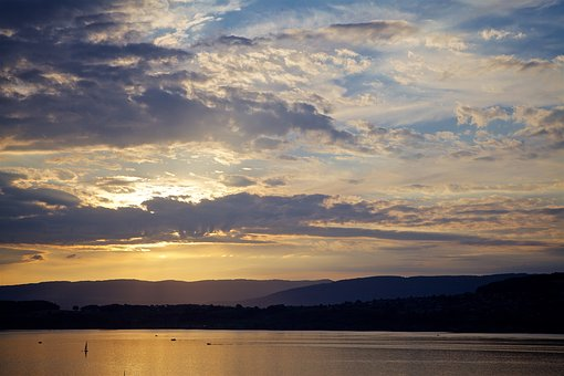 Sunset, Lake, Mountains, Nature, Landscape, Sky, Clouds
