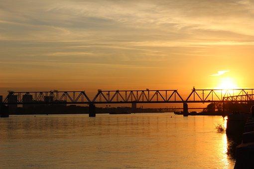 Novosibirsk, Bridge, Railway, Sunset, Evening, Ob