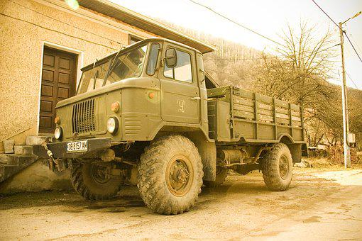 Truck, Village, Old, Countryside, Tree, Off-road, Jeep