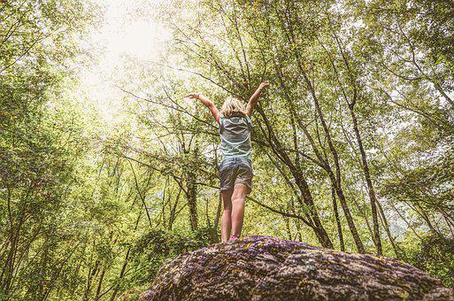 Girl, Stand, Rock, Standing, Young, Outdoors, Summer
