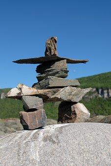 Inukshuk, Statue, Symbol, Pierre, Indian, Culture, Sky
