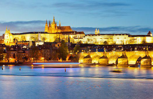 Prague, Evening, Castle, Czech Republic, City