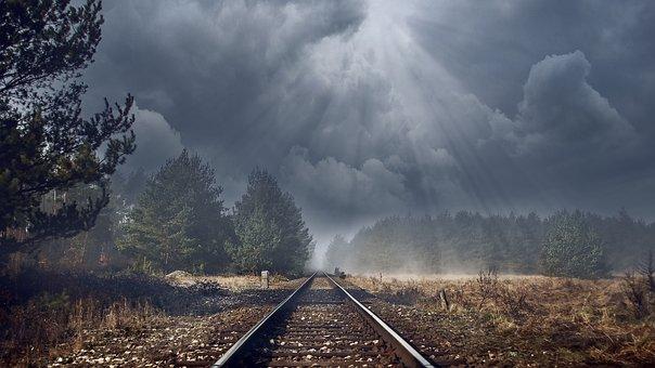 Railway Tracks, Gloomy, Track, Railway Rails, Forest