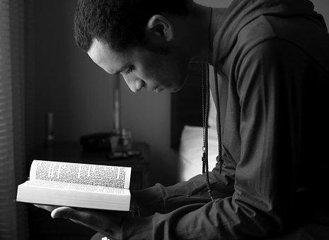 Black And White, Reading, Guy, Man, Book, Read