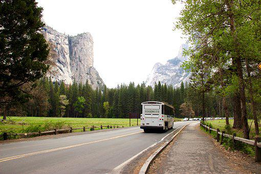 Highway, Mountain, Bus, Landscape, Road