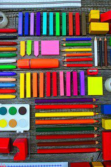 School Times, School School Supplies, Brushes, Crayon