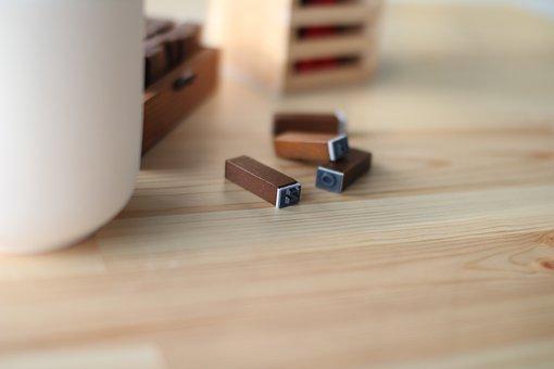 Desk, Seal, Pencil Arrangement, Initials