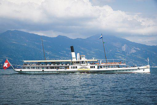 Paddle Steamer, Ship, Water, Steamboat, Switzerland