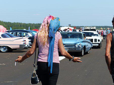 Woman, Parrot, Blue, Cars, Sky, Asphalt, Hair, Bag