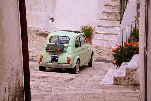 Vintage Car, Flowers, 500, Fiat, Alley, Staircase