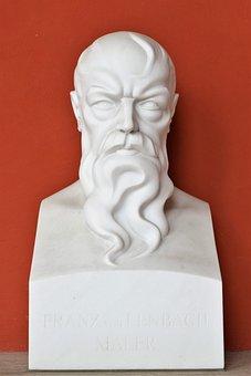 Statue, Head, White, Beard, Intense, Bust, Man, Figure