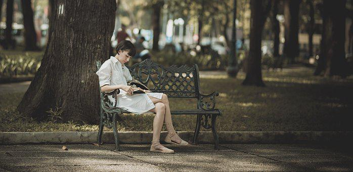 Girl, Book, Park, Woman, Reading, People, Read, Study