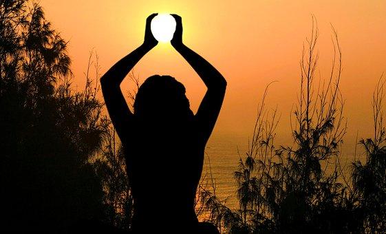 Yoga, Sun, Meditation Holding, Sunset, Female, Nature